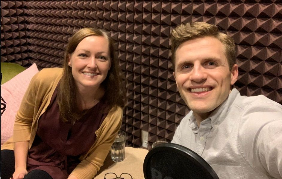 Andy Proctor and Em Capito at Kiln's podcast studio